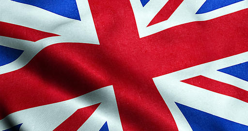 closeup of waving flag of union jack, uk great britain england symbol, named united Live Action