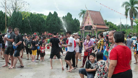 People enjoy the environment at Songkran festive Live Action