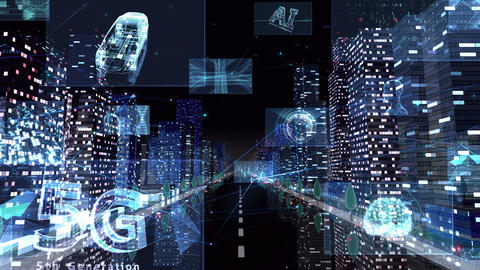 Digital City Network Building Technology Communication Data Business night Zoom A M-Aa Animation