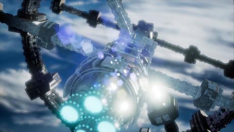 Highly detailed huge spaceship approaching to the Earth Acción en vivo