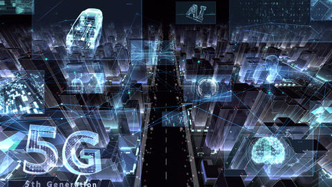 Digital City Network Building Technology Communication Data Business night Zoom A M-Bc Animation