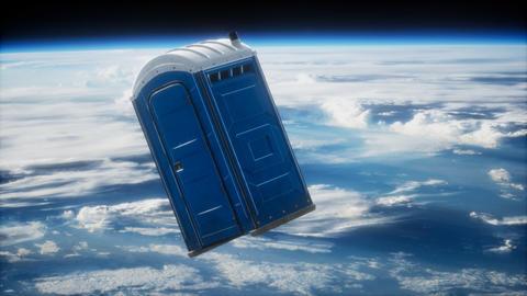 Portable street WC toilet cabin on Earth orbit Acción en vivo