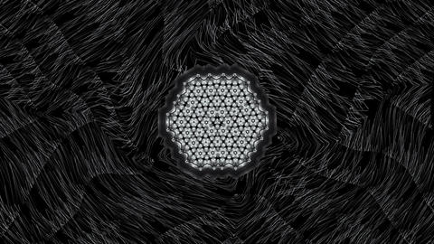 Hypnotic geometric patterns of moving white particles in black moving texture Live Action
