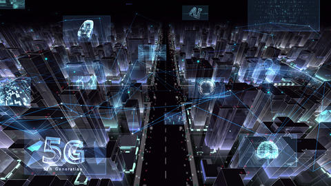 Digital City Network Building Technology Communication Data Business night Zoom C M-Bc Animation