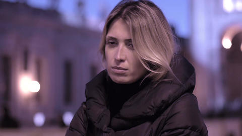 sad young woman in Rome: sadness, thoughtful, pensive, depression, problems Footage
