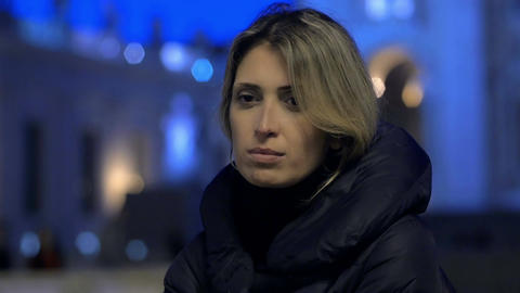 sad young woman in Rome: sadness, thoughtful, pensive, depression, problems Live Action
