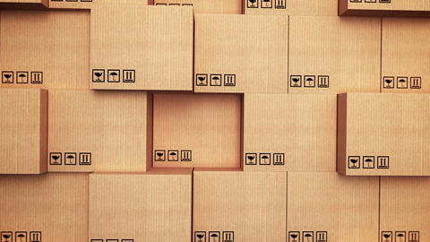 Cardboard boxes with vertical movement Animation