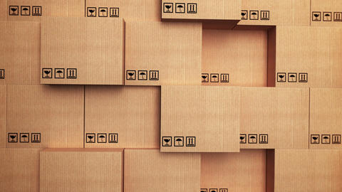 Cardboard boxes with horizon movement Animation