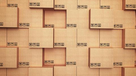 Cardboard box at warehouse Animation