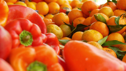 red pepper and oranges at the market Footage