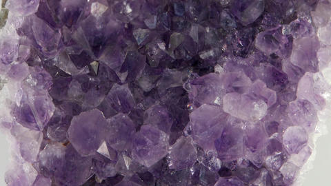 Druse amethyst, vertical panorama. Close-up Footage