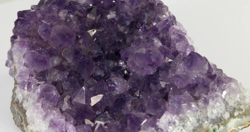 Amethyst. Panorama with rotation. Close-up Footage