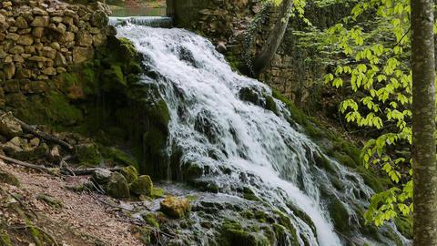 Falls from Yusupov lake. Crimea Footage
