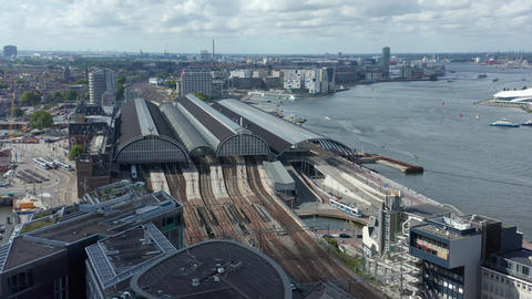 Amsterdam Centraal Central Station Wide View, Aerial Drone Perspective Live Action