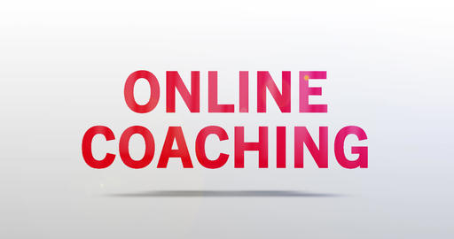 Online Coaching. Particle Logo. Red Text Animation Animation