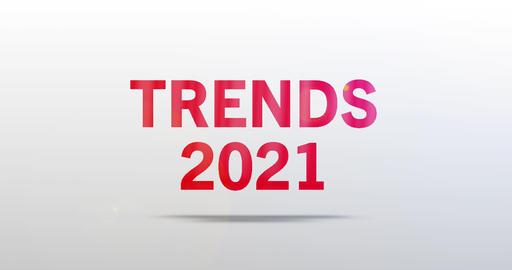Trends 2021. Particle Logo. Red Text Animation Animation