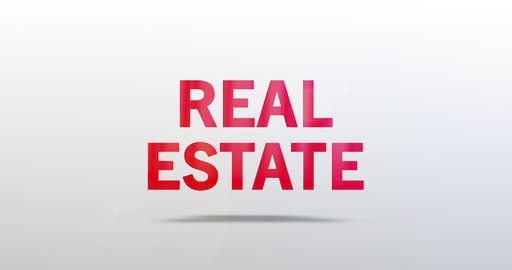 Real Estate. Particle Logo. Red Text Animation Animation