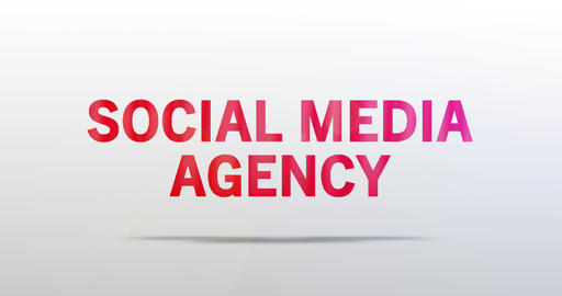 Social Media Agency. Particle Logo. Red Text Animation Animation