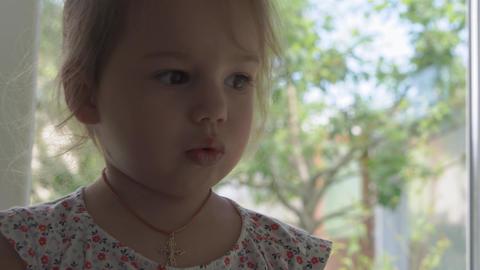 Childhood, emotions concept - close-up of joyful little cute Caucasian Slavik Live Action