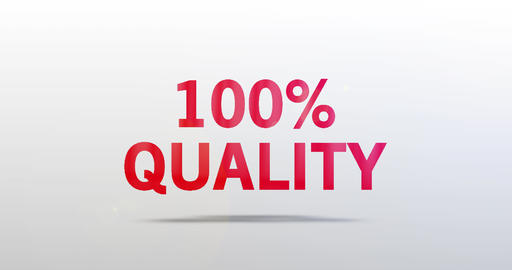 100 Percent Quality. Particle Logo. Red Text Animation Animation