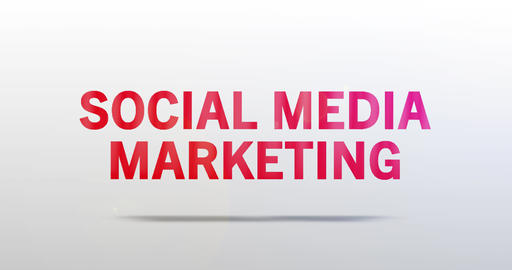 Social Media Marketing. Particle Logo. Red Text Animation Animation