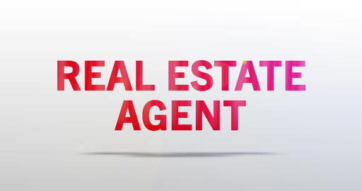 Real Estate Agent. Particle Logo. Red Text Animation Animation