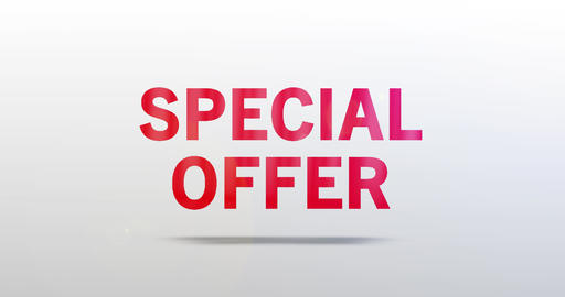 Special offer. Particle Logo. Red Text Animation Animation