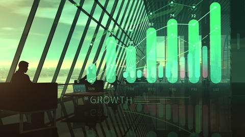 Corporate background office and animated virtual infographics Animation