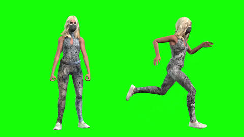 926 HD health pandemic sport 3d ANIMATED GIRLS EXERCISE in masks Animation