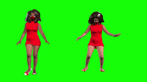 924 HD 3D ANIMATED afroamerican girls walking dance waiving DIVERSITYP5BRIEF Animation