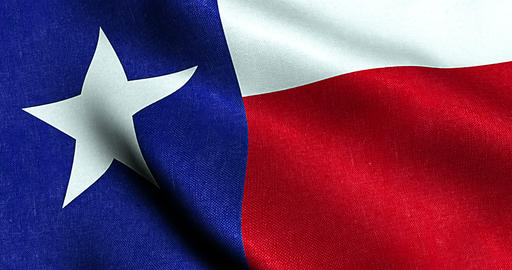 waving fabric texture of the flag with blue and red color of nation texas, nation of the usa, united Live Action