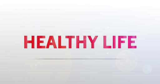 Healthy life. Particle Logo. Red Text Animation Animation
