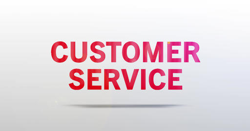 Customer Service. Particle Logo. Red Text Animation Animation