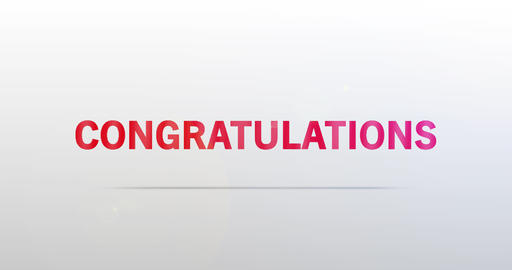 Congratulations. Particle Logo. Red Text Animation Animation