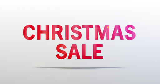 Christmas Sale. Particle Logo. Red Text Animation Animation