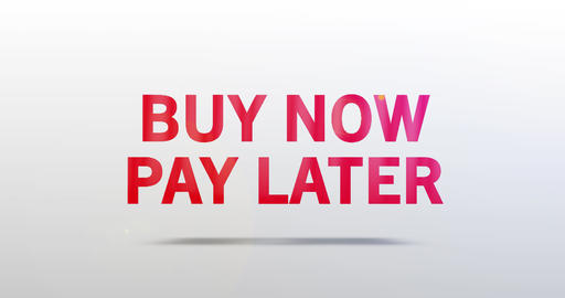 Buy now pay later. Particle Logo. Red Text Animation Animation