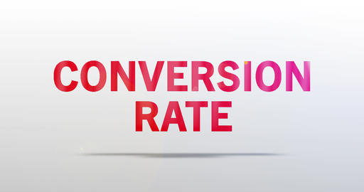 Conversion Rate. Particle Logo. Red Text Animation Animation
