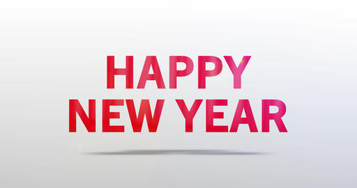 Happy new year. Particle Logo. Red Text Animation Animation