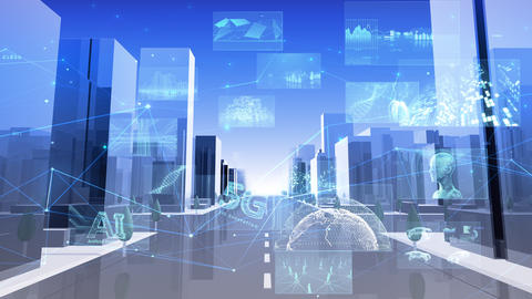 Digital City Network Building Technology Communication Data Business sky Rot A M-Aa Animation