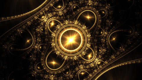 Highly ornamental kaleidoscopic animation in psychedelic colours. Abstract flame Animation