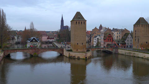 Ponts Couverts in Strasbourg, Alsace, France Live Action