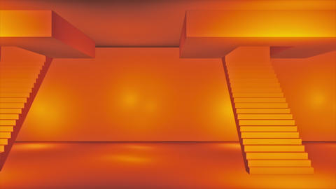 Broadcast Passing Hi-Tech Stairs Alley, Orange, Transport, 3D, 4K Animation