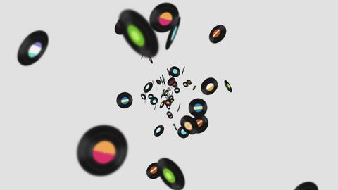 Flying many vinyl records on white background. Old technology. Retro design. 3D animation of music Animation