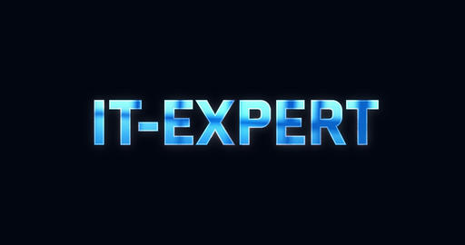 IT-Expert. Electric lightning word. Text Animation Animation