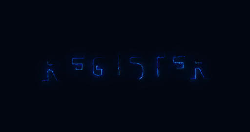 Register. Electric lightning word. Text Animation Animation