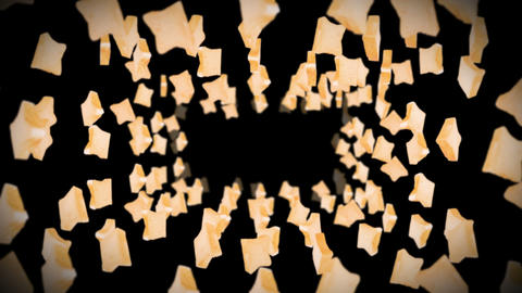 Flying many plain bread slices on black background. Foodstuff, Food and eating concept. 3D animation Animation