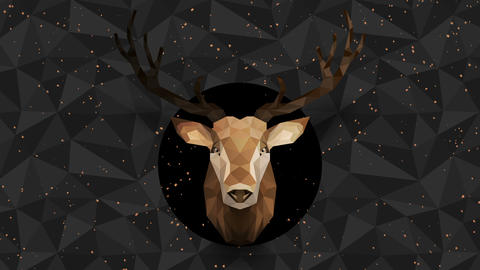 Polygonal Deer background. Animal head. Low polygon loop animation. Geometric wildlife. Polygonal Animation