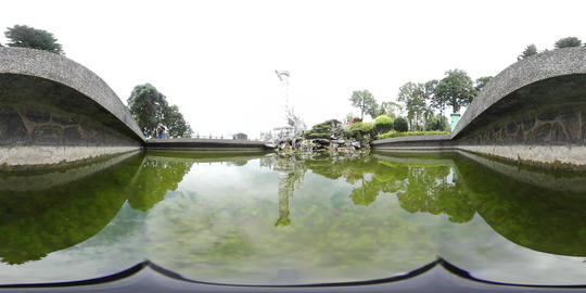 360VR video at Wenwu Temple, view from inside pond Footage