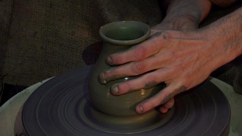modelling a clay pot Footage