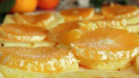 orange cake preparing with sugar Footage